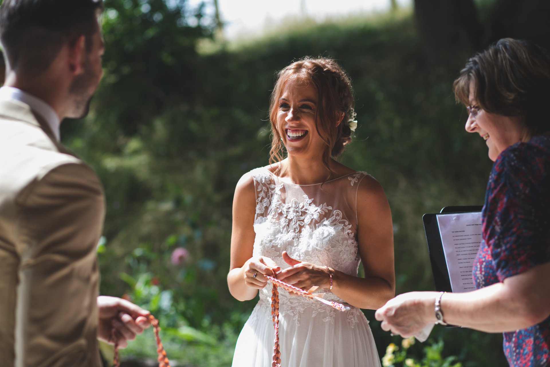 the beautiful bride enjoying the summer sunshine